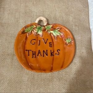 (3) for $25 Ceramic Pumpkin Give Thanks Platter